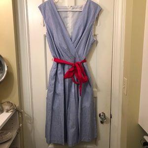 Chetta B Blue and White Striped Dress Cotton 14